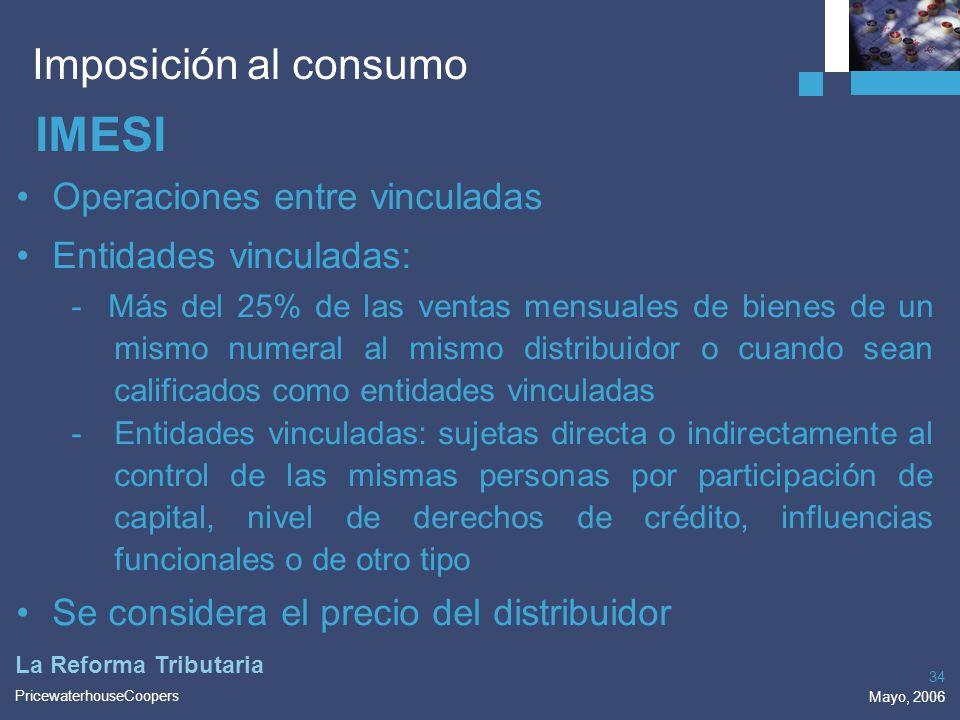 IMESI Imposición al consumo Operaciones entre vinculadas
