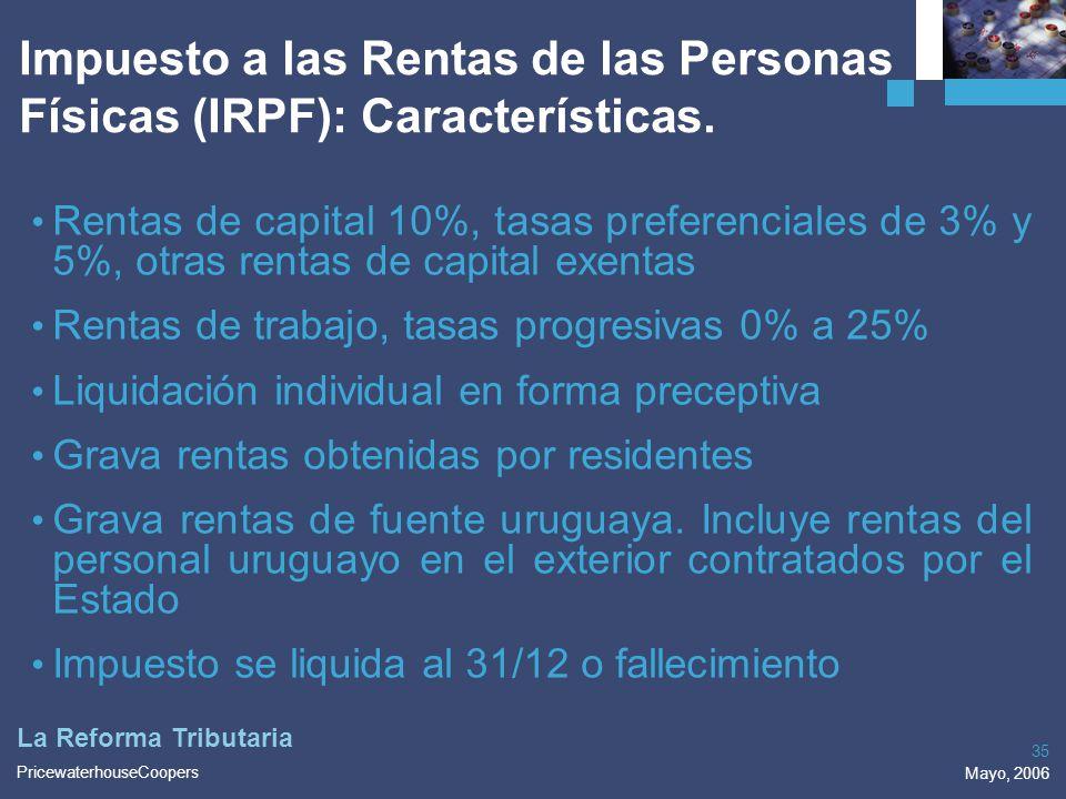 Impuesto a las Rentas de las Personas Físicas (IRPF): Características.