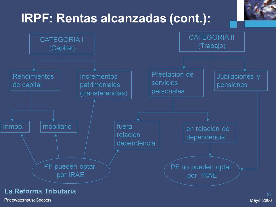 IRPF: Rentas alcanzadas (cont.):