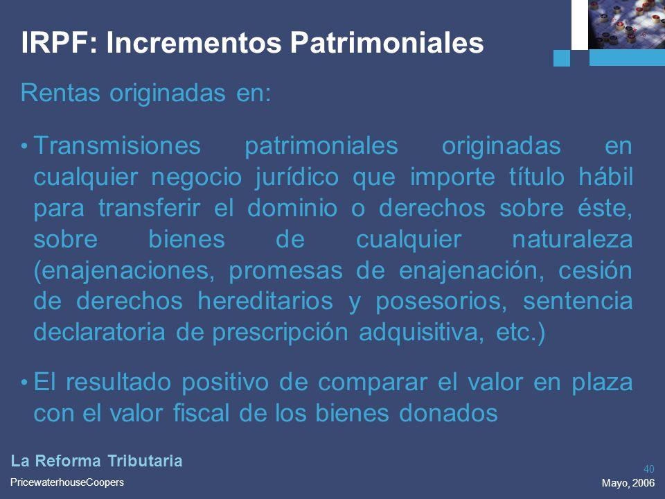 IRPF: Incrementos Patrimoniales