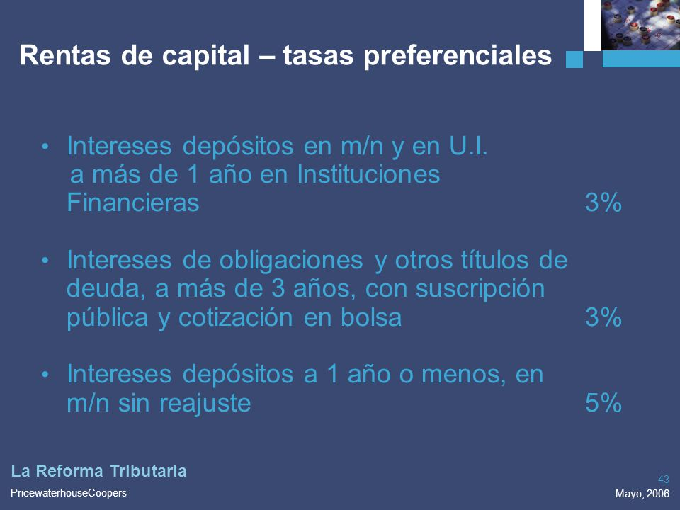 Rentas de capital – tasas preferenciales