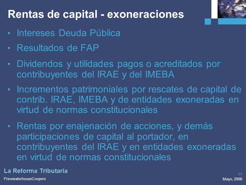Rentas de capital - exoneraciones
