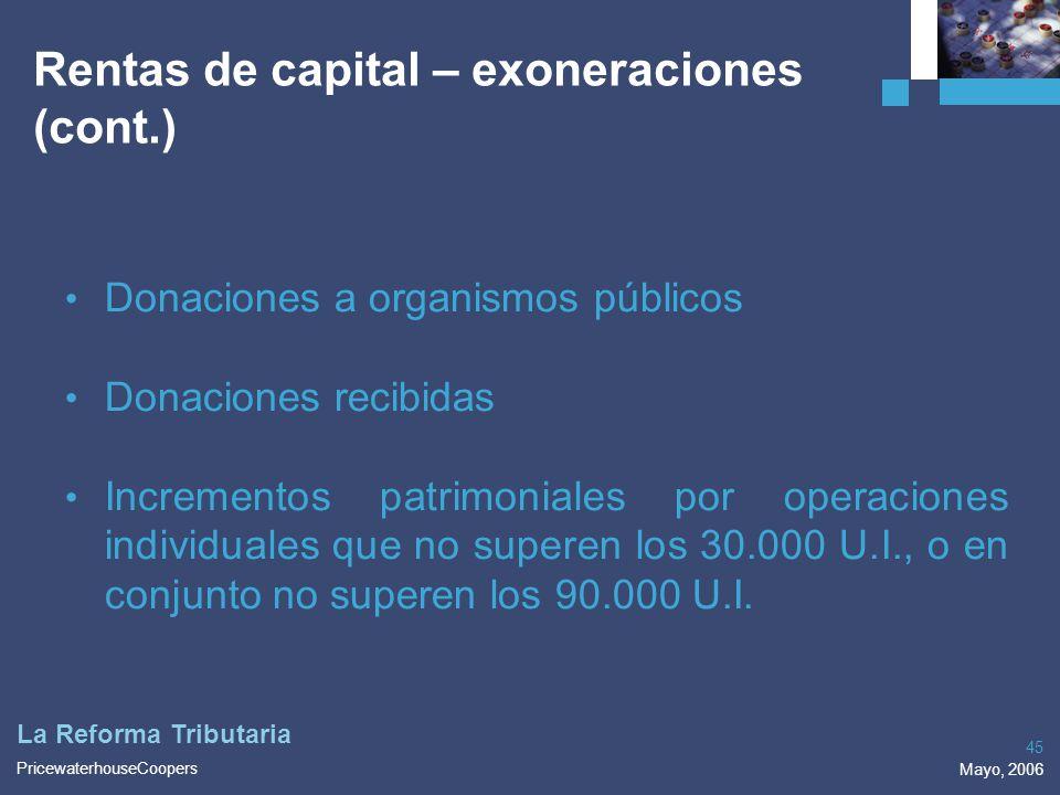 Rentas de capital – exoneraciones (cont.)