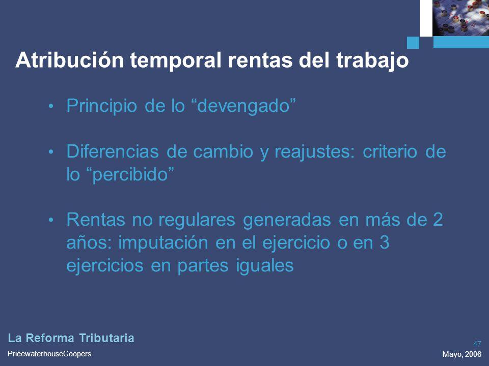 Atribución temporal rentas del trabajo