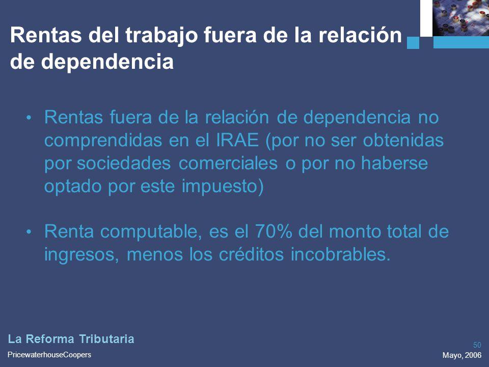 Rentas del trabajo fuera de la relación de dependencia