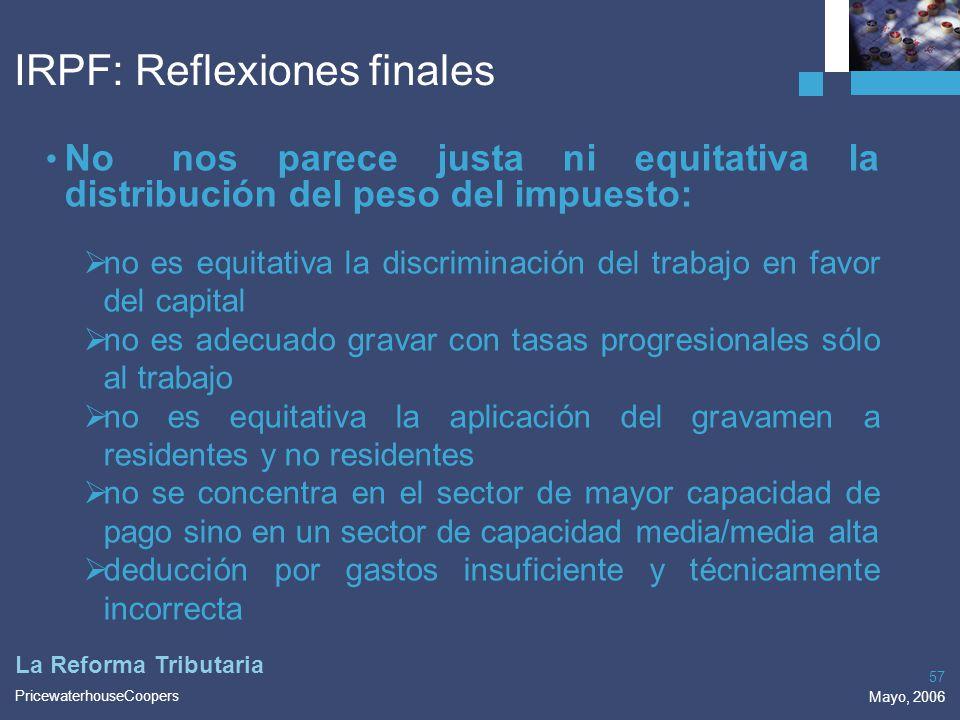 IRPF: Reflexiones finales