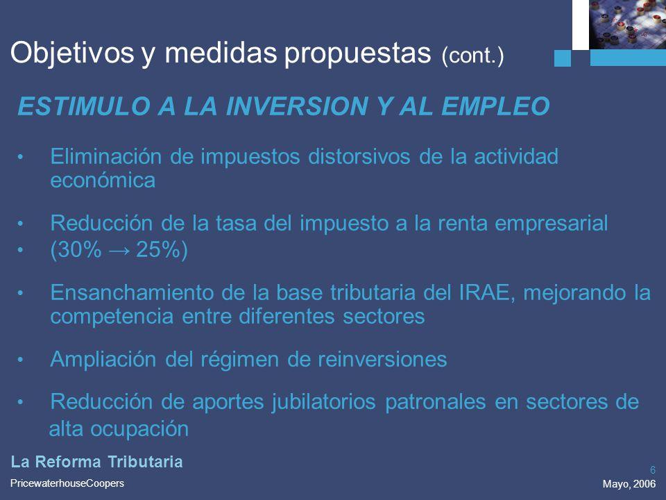 Objetivos y medidas propuestas (cont.)