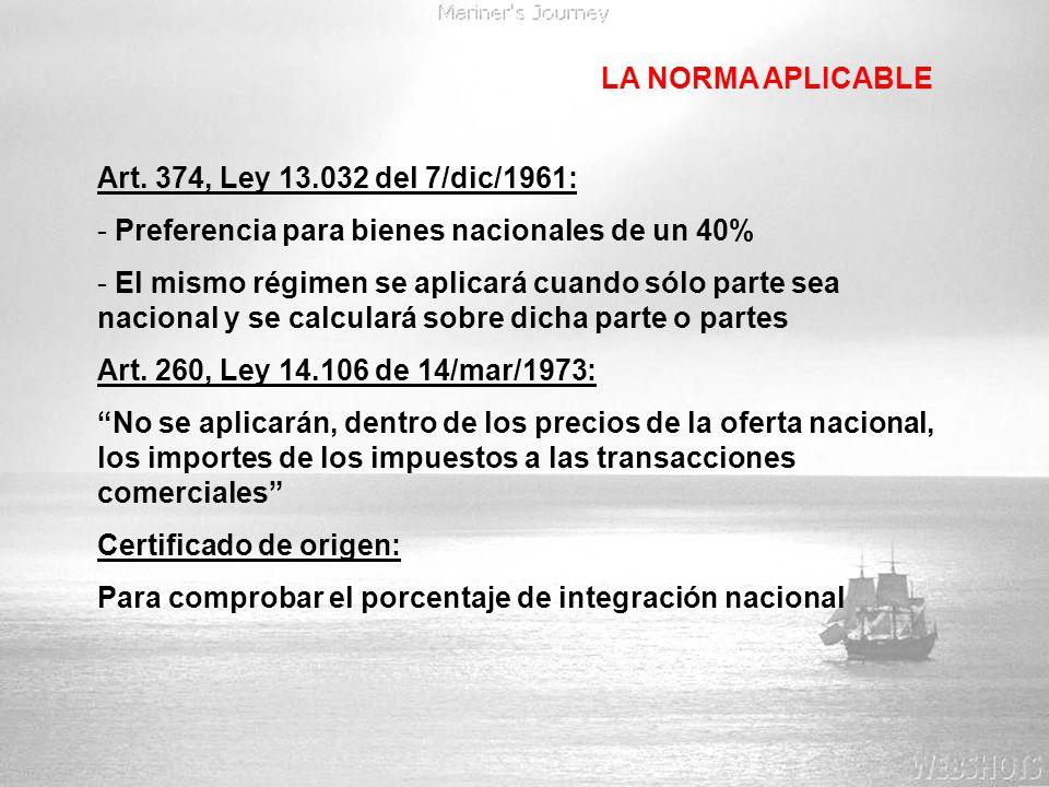 LA NORMA APLICABLE Art. 374, Ley 13.032 del 7/dic/1961: Preferencia para bienes nacionales de un 40%
