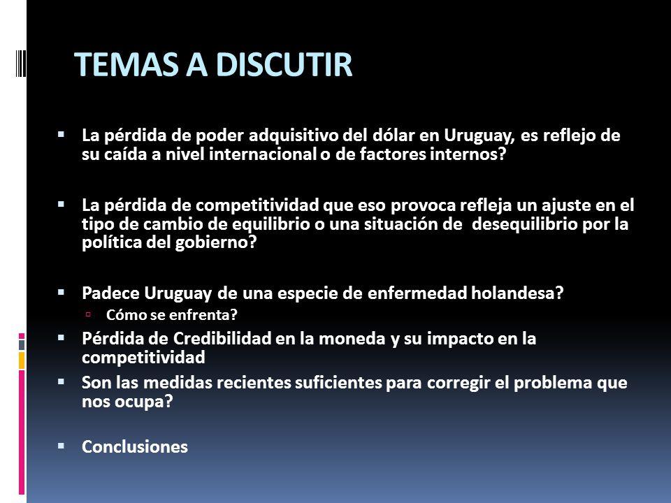 TEMAS A DISCUTIR La pérdida de poder adquisitivo del dólar en Uruguay, es reflejo de su caída a nivel internacional o de factores internos