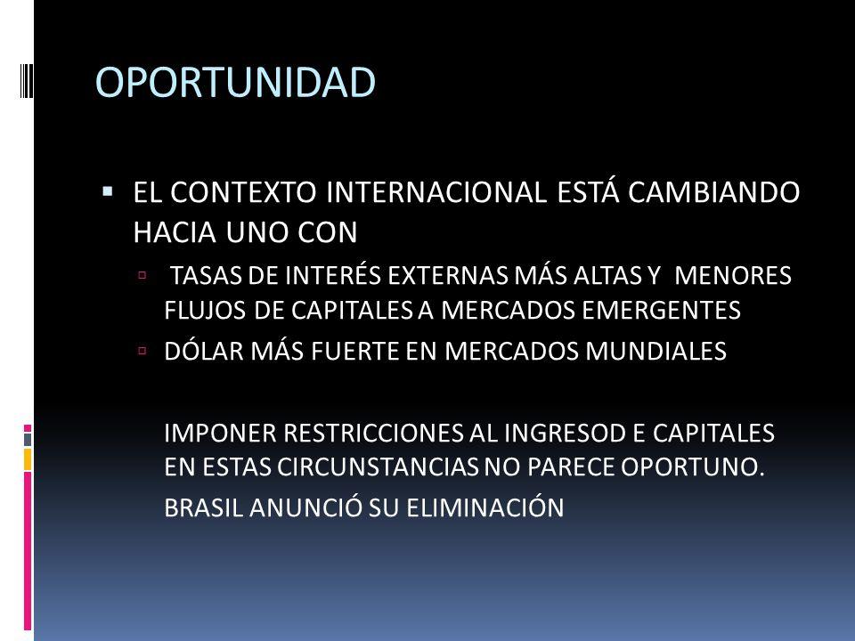 OPORTUNIDAD EL CONTEXTO INTERNACIONAL ESTÁ CAMBIANDO HACIA UNO CON