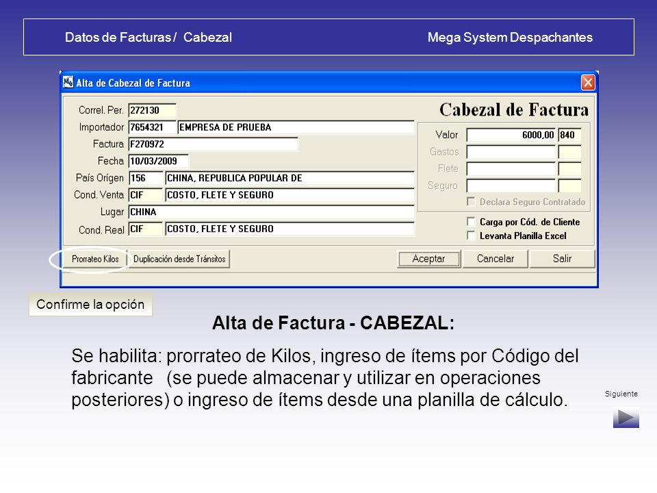 Datos de Facturas / Cabezal Mega System Despachantes
