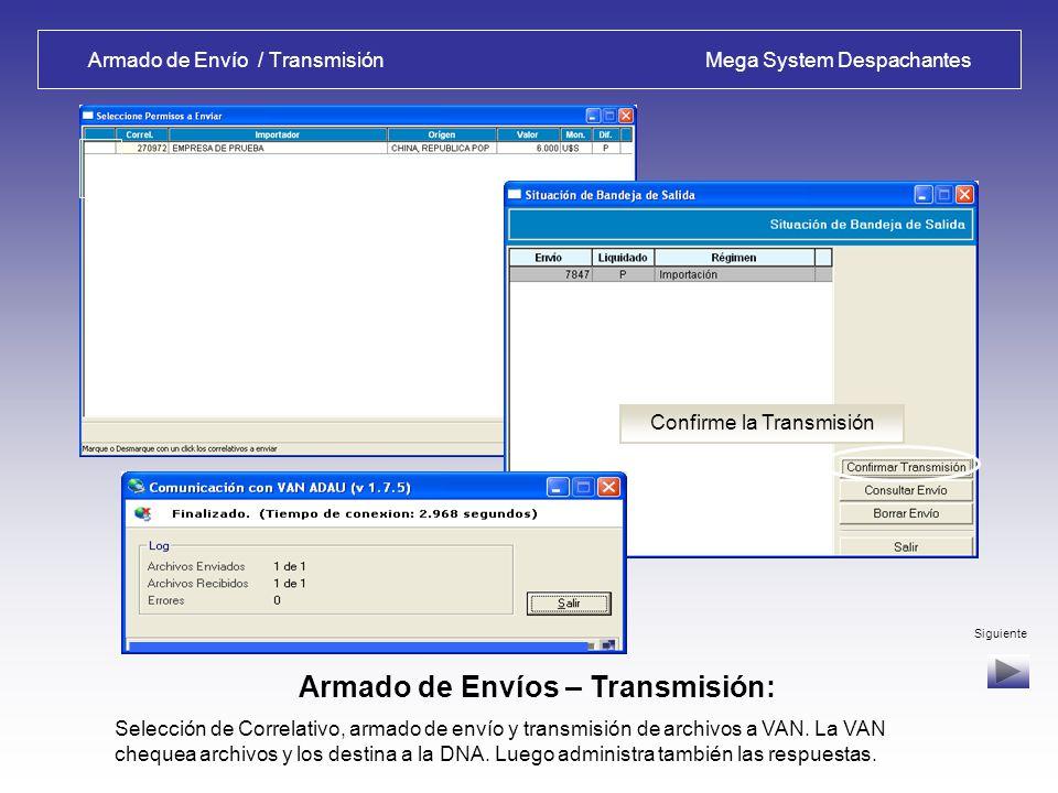 Armado de Envío / Transmisión Mega System Despachantes