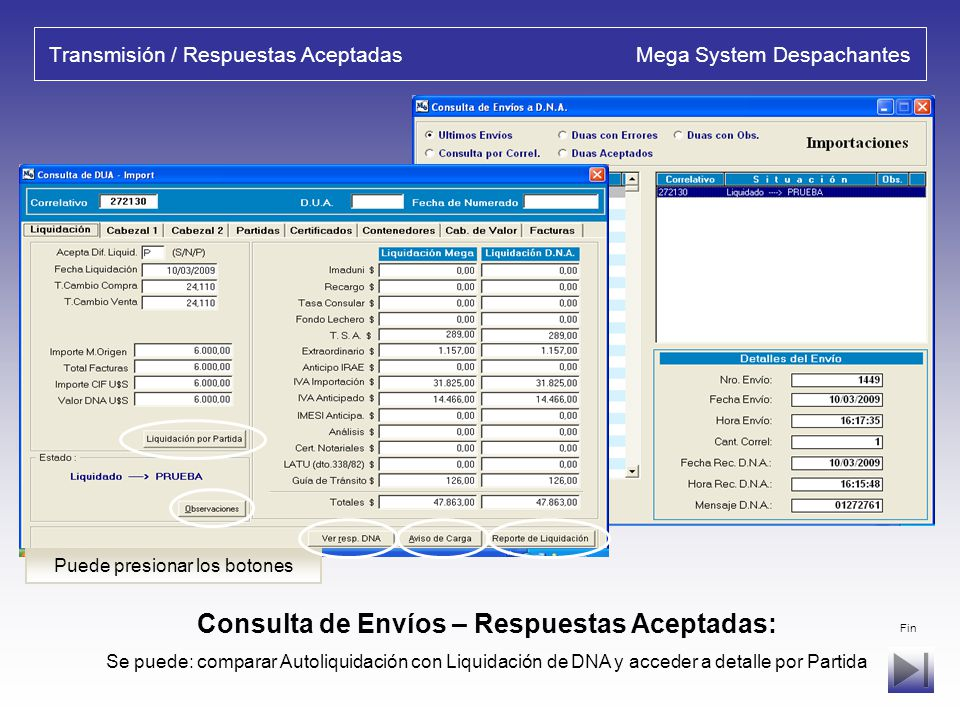 Transmisión / Respuestas Aceptadas Mega System Despachantes