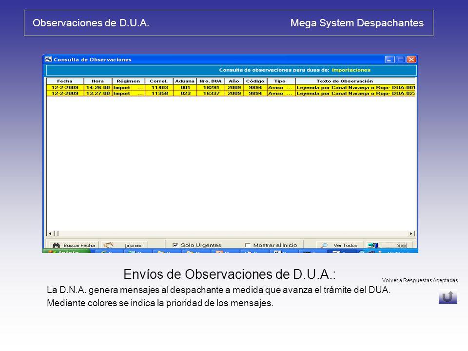 Observaciones de D.U.A. Mega System Despachantes