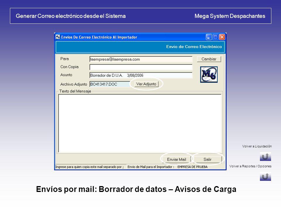 Generar Correo electrónico desde el Sistema Mega System Despachantes