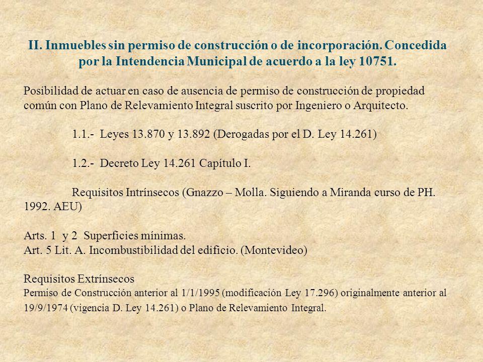 II. Inmuebles sin permiso de construcción o de incorporación