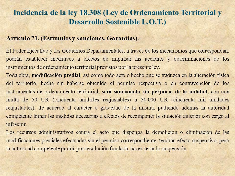 Incidencia de la ley 18.308 (Ley de Ordenamiento Territorial y Desarrollo Sostenible L.O.T.)