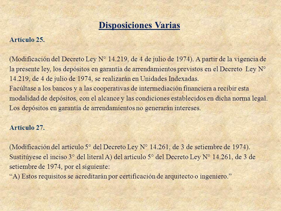 Disposiciones Varias Artículo 25.