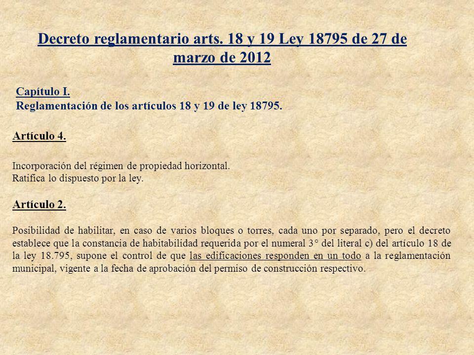 Decreto reglamentario arts. 18 y 19 Ley 18795 de 27 de marzo de 2012