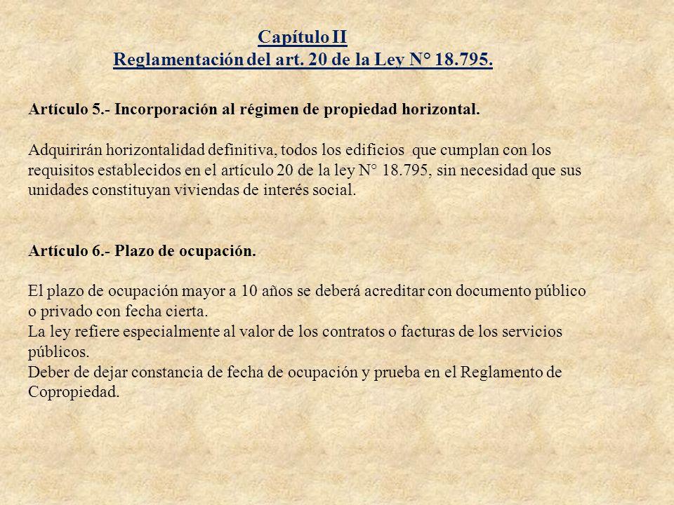 Reglamentación del art. 20 de la Ley N° 18.795.