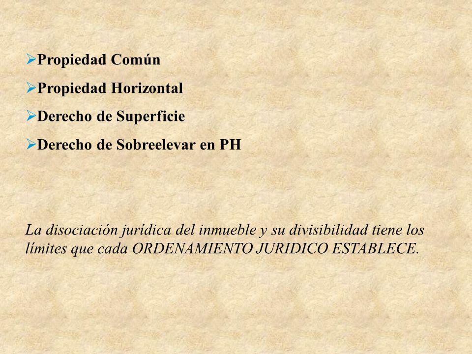 Propiedad Común Propiedad Horizontal. Derecho de Superficie. Derecho de Sobreelevar en PH.