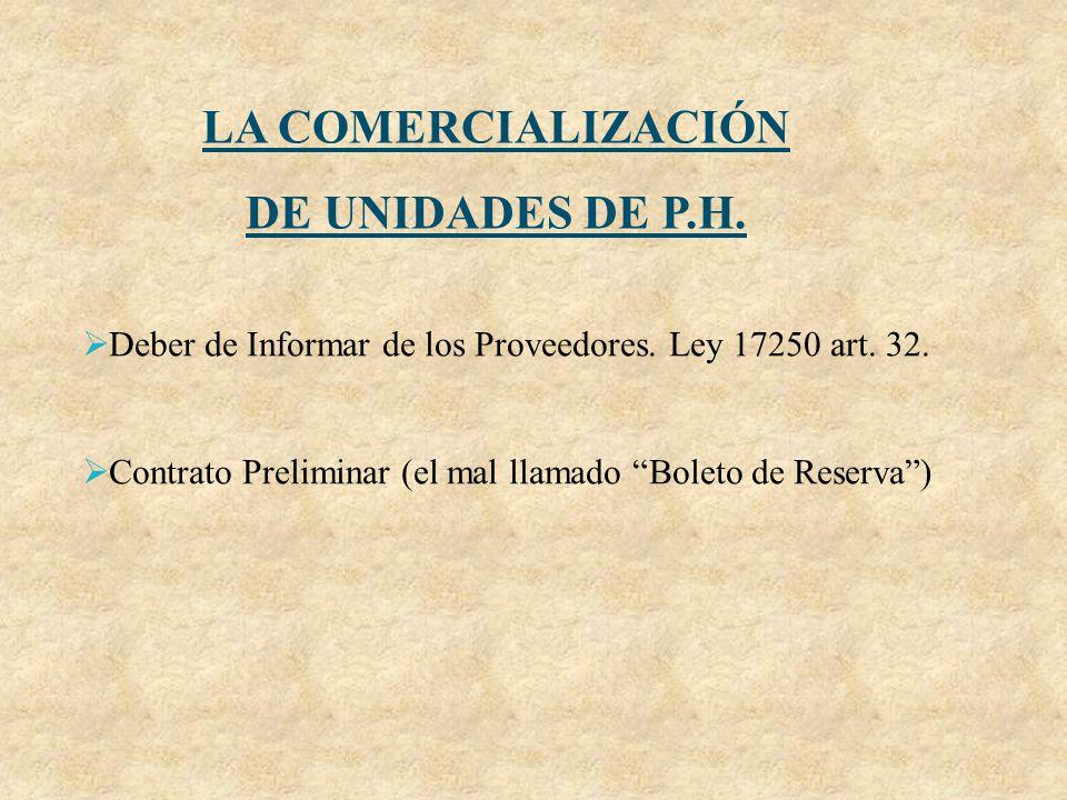 LA COMERCIALIZACIÓN DE UNIDADES DE P.H.