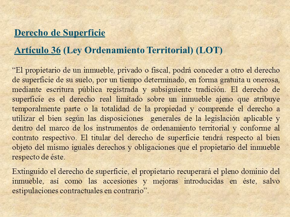 Artículo 36 (Ley Ordenamiento Territorial) (LOT)