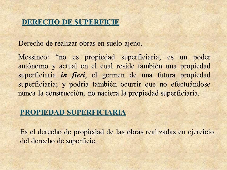 DERECHO DE SUPERFICIE Derecho de realizar obras en suelo ajeno.