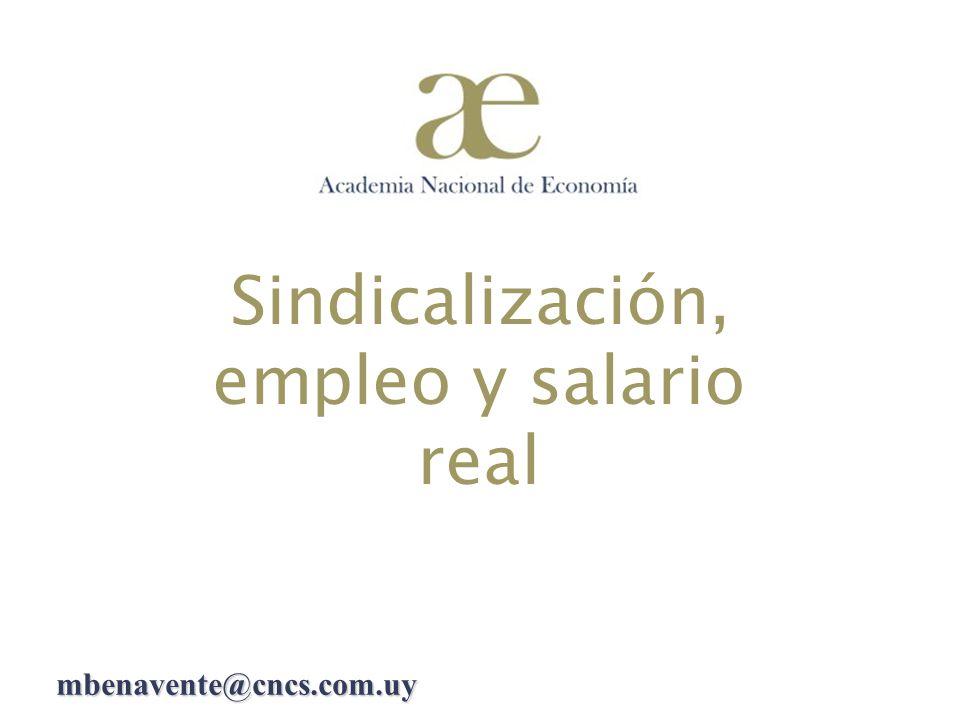 Sindicalización, empleo y salario real