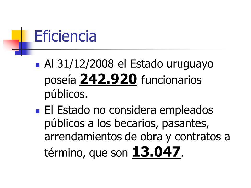 Eficiencia Al 31/12/2008 el Estado uruguayo poseía 242.920 funcionarios públicos.
