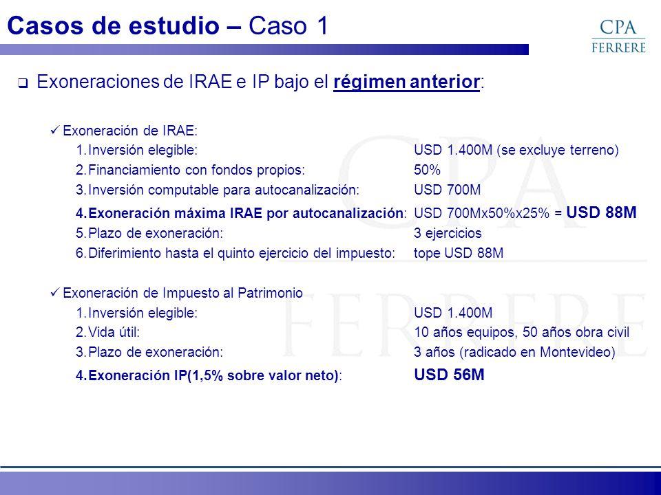 Casos de estudio – Caso 1 Exoneraciones de IRAE e IP bajo el régimen anterior: Exoneración de IRAE: