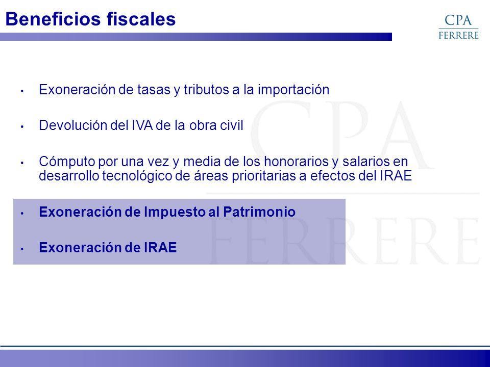 Beneficios fiscales Exoneración de tasas y tributos a la importación