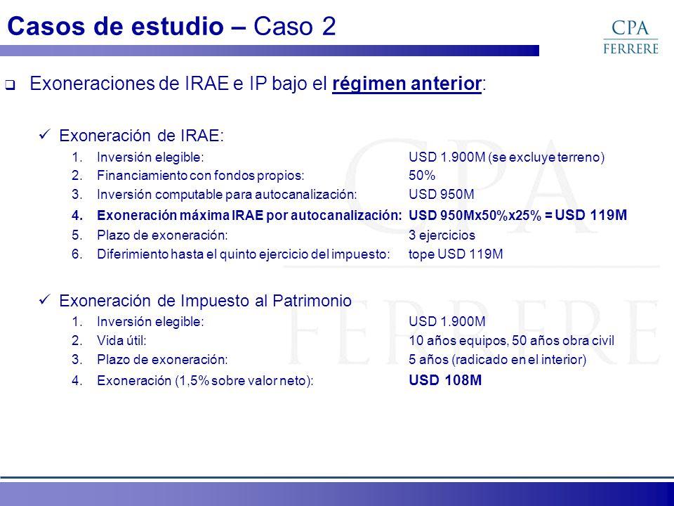 Casos de estudio – Caso 2 Exoneraciones de IRAE e IP bajo el régimen anterior: Exoneración de IRAE: