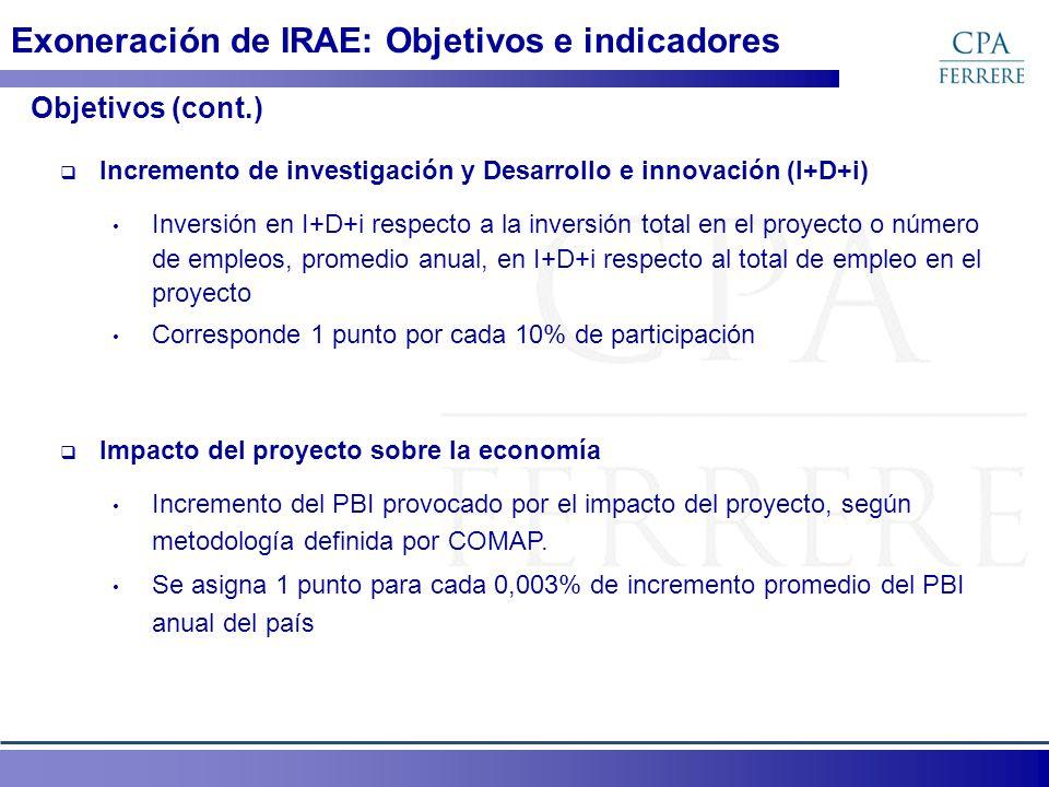 Exoneración de IRAE: Objetivos e indicadores