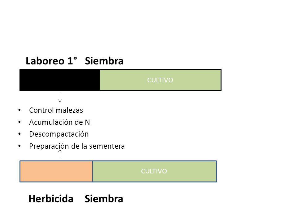 Laboreo 1° Siembra Cultivo Herbicida Siembra Control malezas