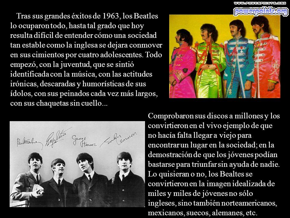 Tras sus grandes éxitos de 1963, los Beatles lo ocuparon todo, hasta tal grado que hoy resulta difícil de entender cómo una sociedad tan estable como la inglesa se dejara conmover en sus cimientos por cuatro adolescentes. Todo empezó, con la juventud, que se sintió identificada con la música, con las actitudes irónicas, descaradas y humorísticas de sus ídolos, con sus peinados cada vez más largos, con sus chaquetas sin cuello...