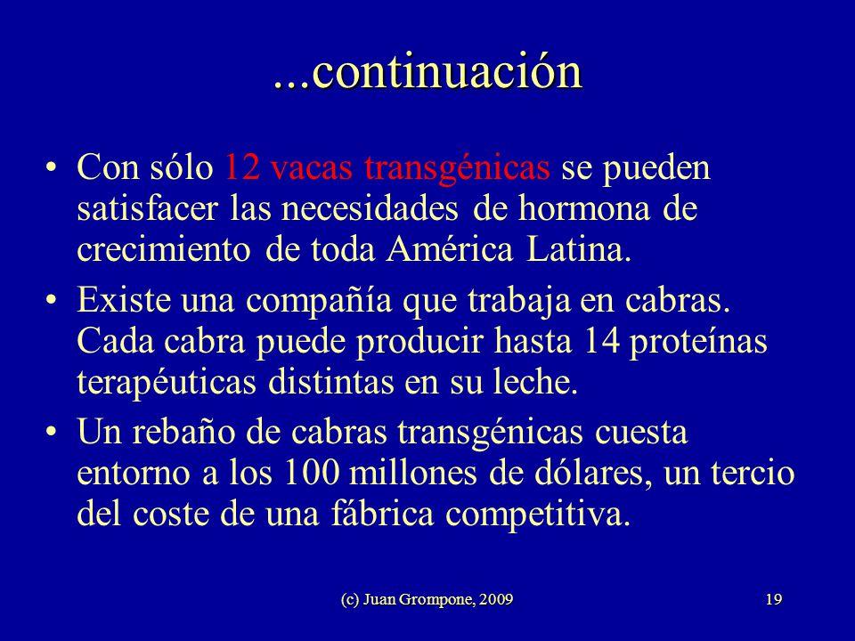 ...continuación Con sólo 12 vacas transgénicas se pueden satisfacer las necesidades de hormona de crecimiento de toda América Latina.