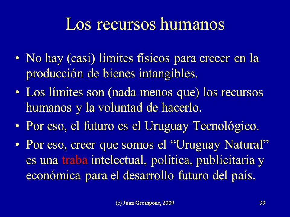 Los recursos humanos No hay (casi) límites físicos para crecer en la producción de bienes intangibles.