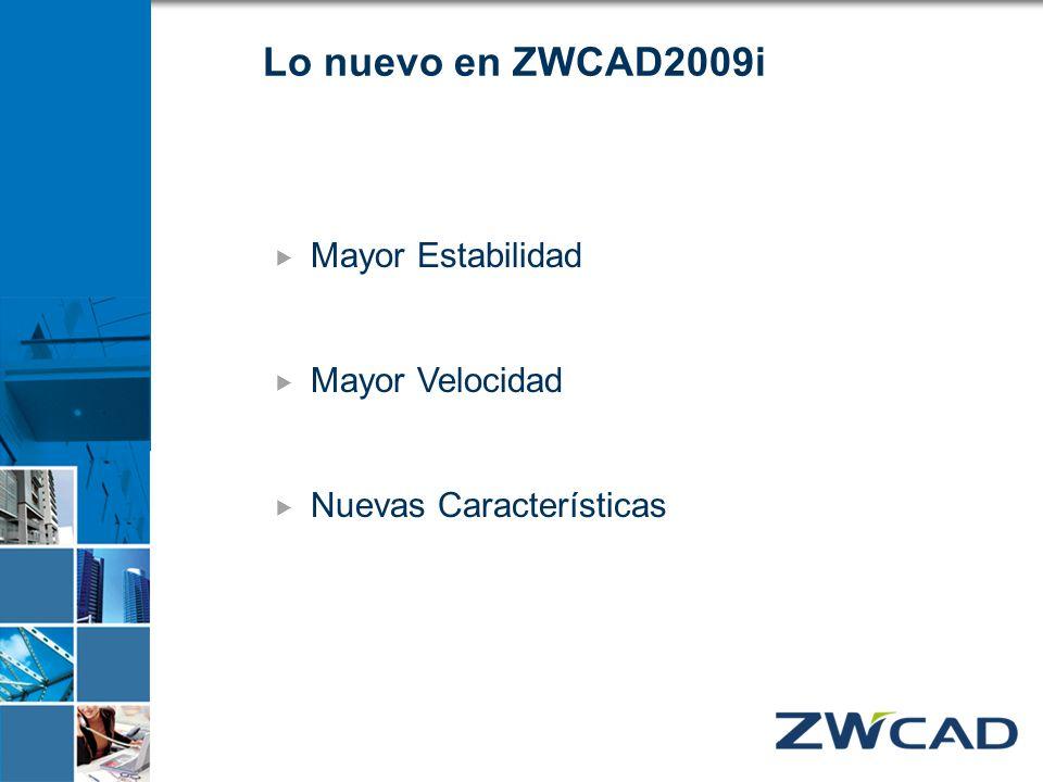 Lo nuevo en ZWCAD2009i Mayor Estabilidad Mayor Velocidad