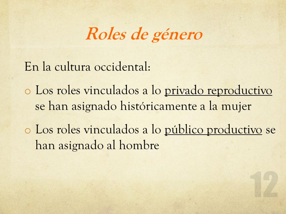 Roles de género En la cultura occidental: