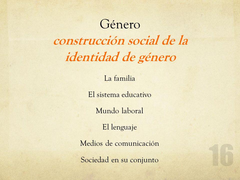 Género construcción social de la identidad de género