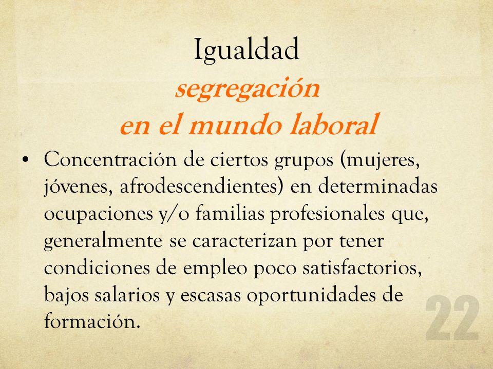 Igualdad segregación en el mundo laboral