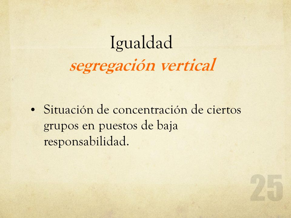 Igualdad segregación vertical