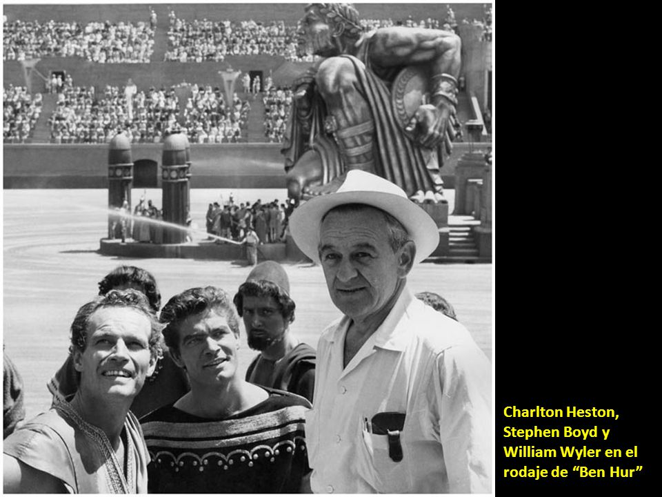 Charlton Heston, Stephen Boyd y William Wyler en el rodaje de Ben Hur