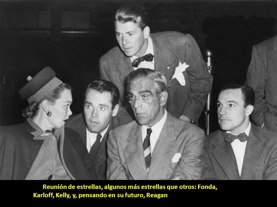 Reunión de estrellas, algunos más estrellas que otros: Fonda, Karloff, Kelly, y, pensando en su futuro, Reagan