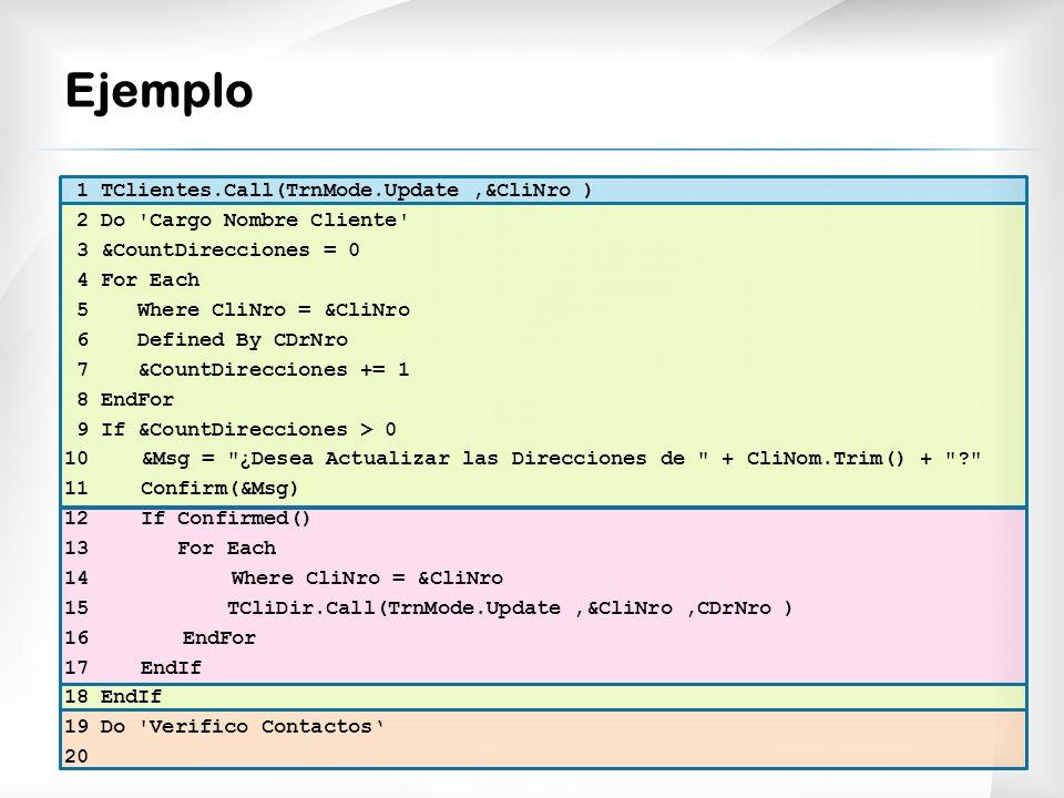 Ejemplo 1 TClientes.Call(TrnMode.Update ,&CliNro )