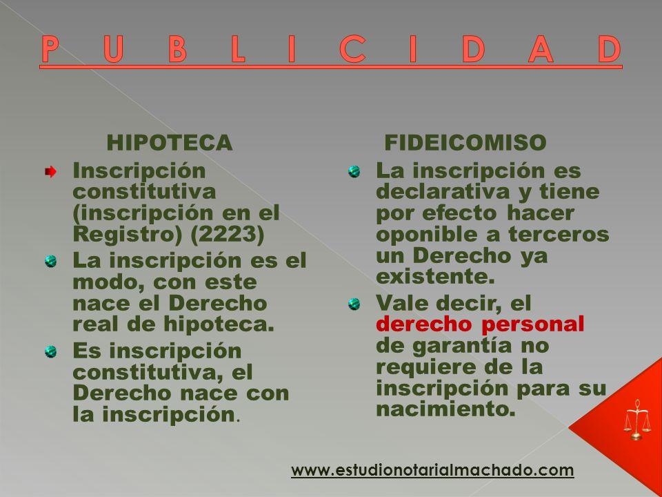 PUBLICIDAD HIPOTECA FIDEICOMISO
