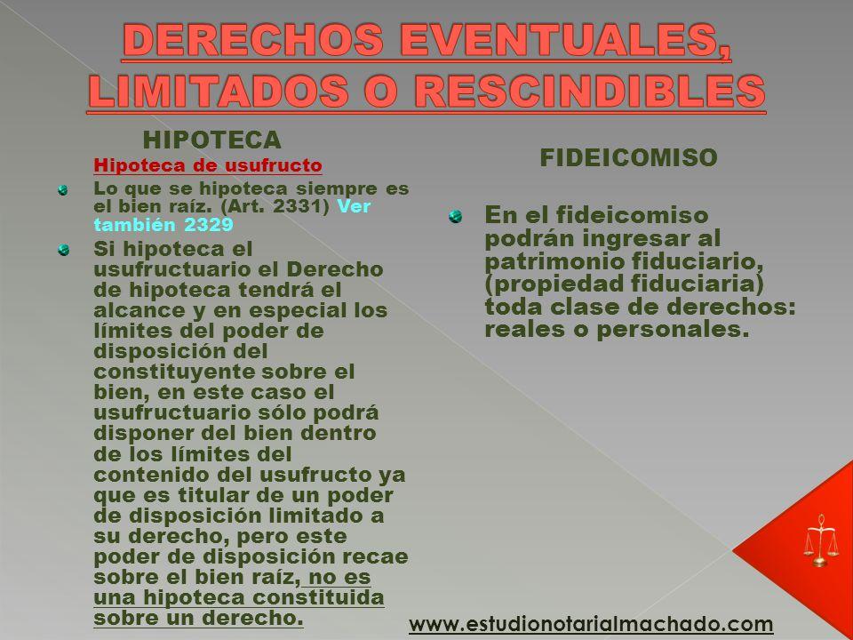 DERECHOS EVENTUALES, LIMITADOS O RESCINDIBLES