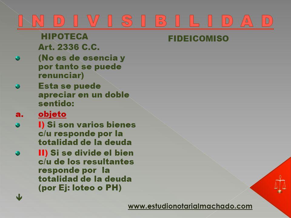 INDIVISIBILIDAD HIPOTECA FIDEICOMISO Art. 2336 C.C.