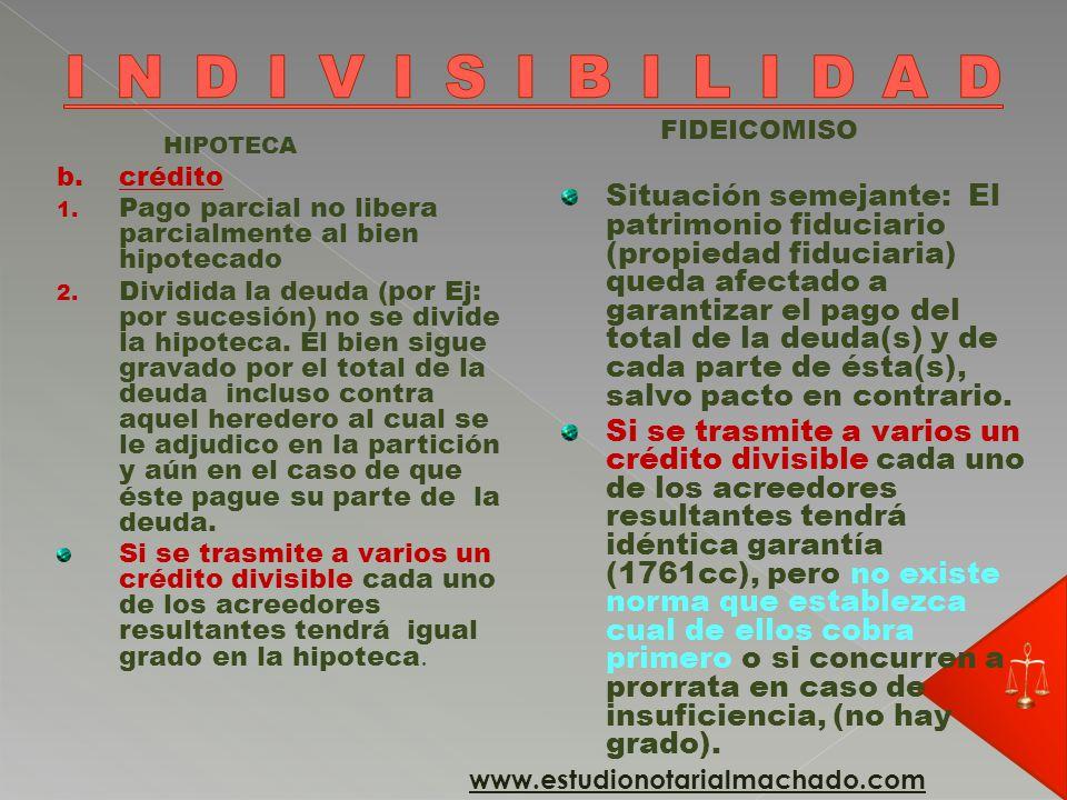 INDIVISIBILIDAD FIDEICOMISO.